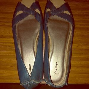 Old Navy Teal Peep Toe Flats Size 10